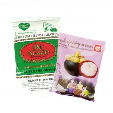 Молочный зеленый чай с жевательными конфетами с соком мангостина