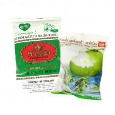 Молочный зеленый чай с жевательными конфетами с кокосовым молочком
